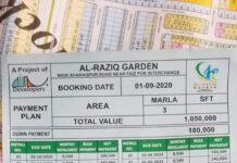 Al Raziq Garden F Block, G Block Payment Plan & Plot Possession