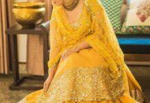 Mehndi yellow dress design